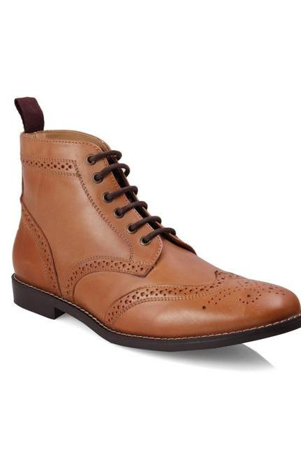 Handmade Men's Leather Taylor Lace Up Brogue Ankle Boots