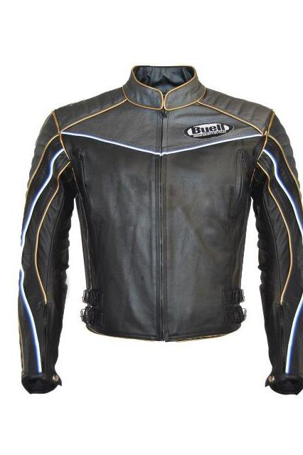 MEN's BUELL BLACK GRAY MOTORCYCLE LEATHER JACKET