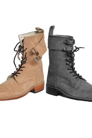 Handmade Men's Beige Suede Long Lace up Boots, Men Ankle Boots
