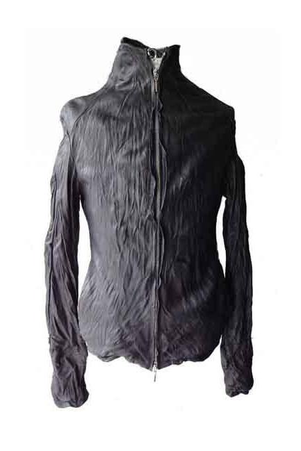 Men High Neck Lambskin washed Leather jacket