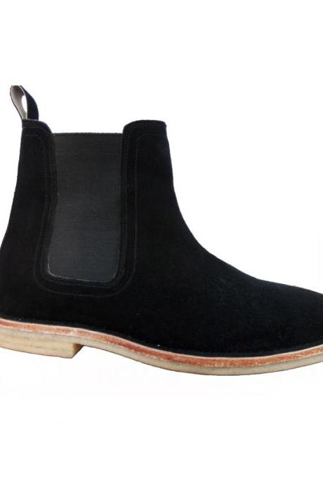 Handmade Men Chelsea Black Suede Leather Boots Ankle high Shoes
