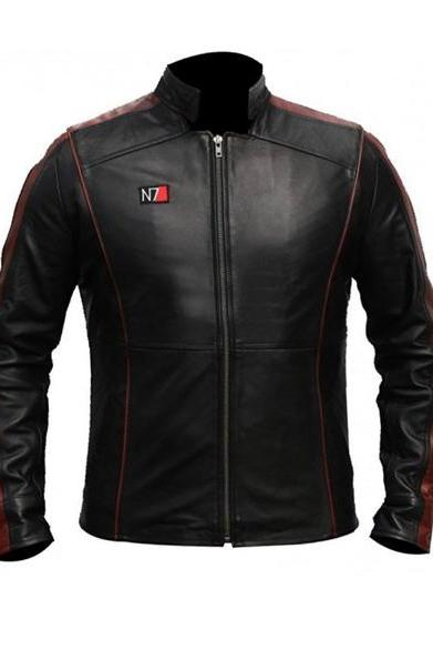 Black James bond Black N7 Celebrity Leather Jacket Men