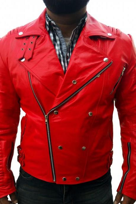Men Elegant Red Fashion Leather Jacket Men