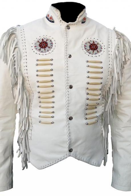 Women's Fringe Western Classic White Fashion Leather Jacket, Women Beads & Bones Western jacket