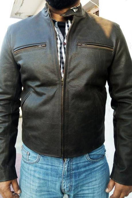 Men Fashion Biker Distress Leather Jacket Slim Fit , Men's Leather jacket