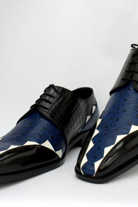 HAND MADE LOAFER STYLE BLUE BLACK SHOES Ostrich Crocodile Texture Leather Boots