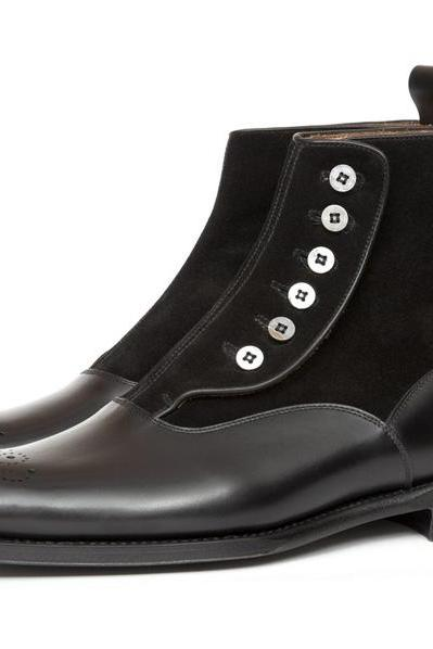Handmade Men Black Side Buttons Two Tone Boots, Jeans Ankle Boots