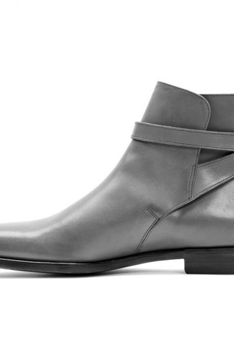 Handmade Gray Jodhpurs Ankle High Strap Buckle Boots Men