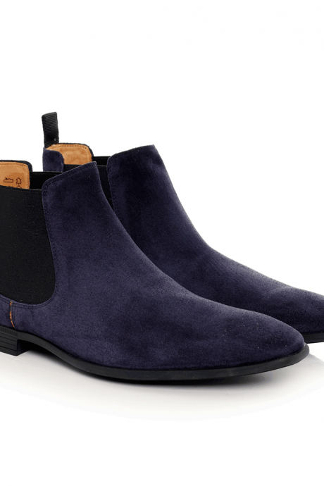 Handmade Men's Suede Leather Chelsea Ankle Boots Shoes
