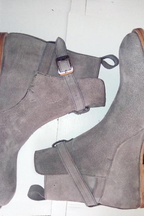 Jodhpurs Gray Suede Leather Boots, Men Ankle Desert Boots Leather Sole