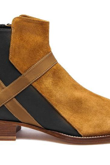 Handmade Black and Beige Ankle High Boots Men 2017