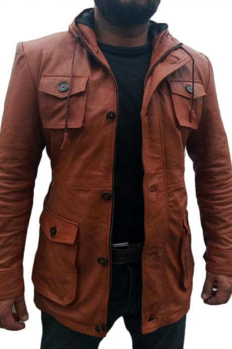 HANDMADE MEN BROWN SLIM FIT HOODIE LEATHER JACKET, MEN LEATHER HOODIE