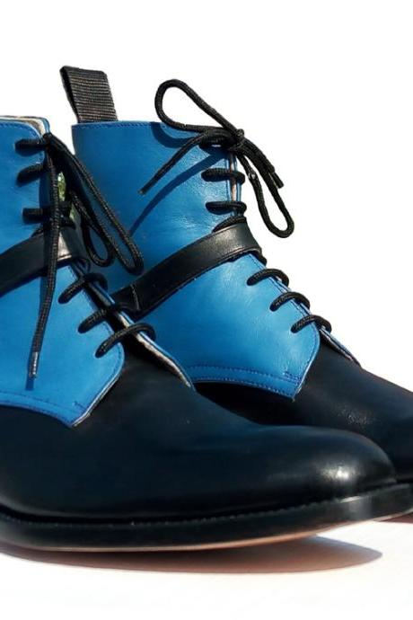 Handmade Jodhpurs Blue Black Leather Ankle Boots, Monk Strap Side Elastic Boot