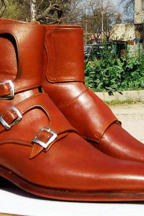 Handmade Brown Leather Ankle Boots, Monk Strap Side Boot