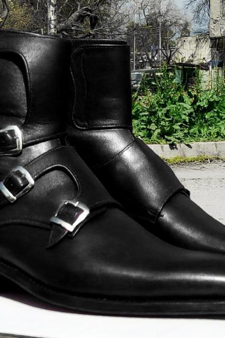 Handmade Monk Strap Black Leather Ankle Boots Men's,Three Monk strap boots