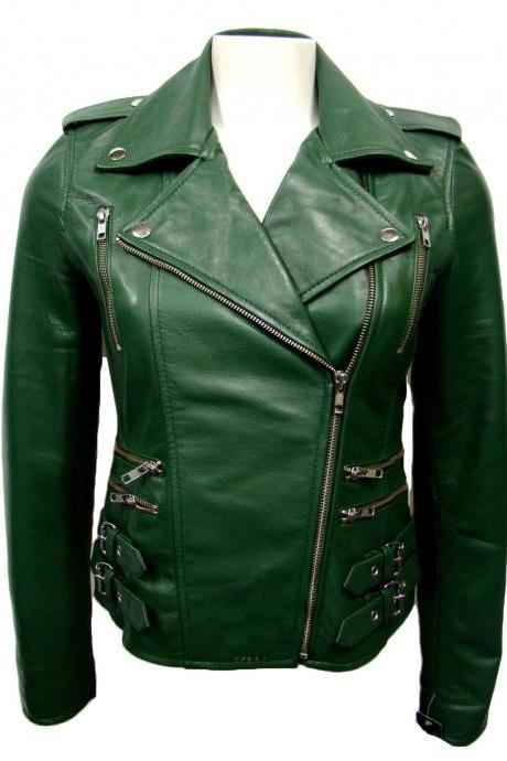 Women Motorcycle Leather Jackets Online Green Attractive Soft Lambskin