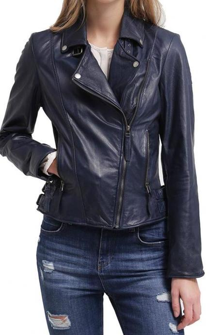 Brand Women's Navy New Motorcycle Fashion Original Leather Slim fit Jacket