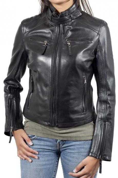 New Women's Motorcycle Fashion Black Lambskin Leather Slim fit Jacket