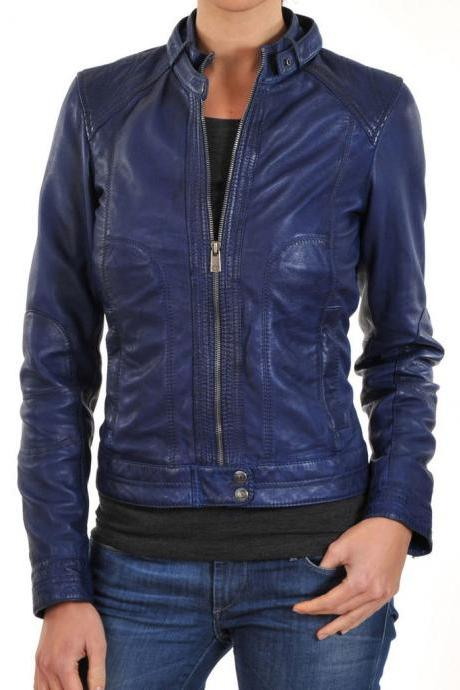 New Women's Navy Blue Leather Motorcycle Biker Jacket, Fashion Soft Leather Jacket