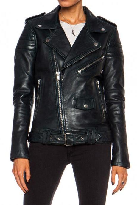 New Women Leather Jacket Black Slim Fit Biker Motorcycle lambskin jacket