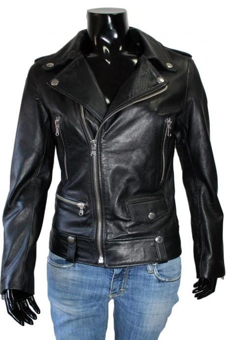 WOMEN REAL LAMBSKIN LEATHER Motorcycle JACKET Solid Black Handmade