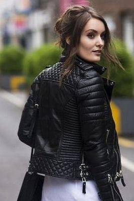 Women's Genuine Lambskin Leather Motorcycle Slim fit Designer Biker Jacket 3