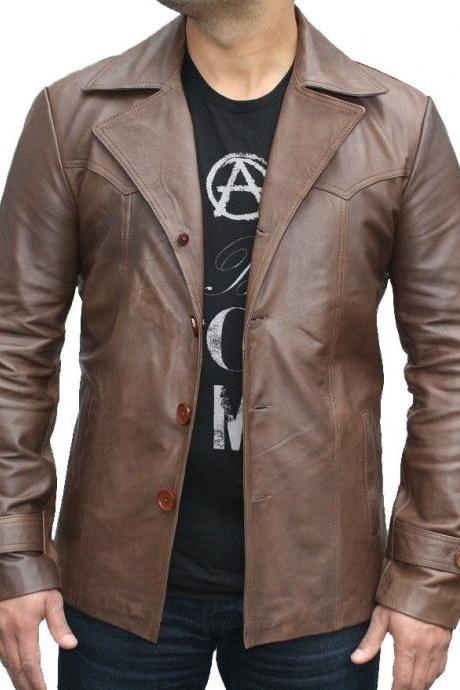 LATE 70's VINTAGE STYLE REAL LEATHER JACKET, BROWN BUTTON FRONT JACKET