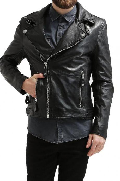 Men Leather Jacket Lambskin Motorcycle Stylish HOT New Biker Fashion Jacket