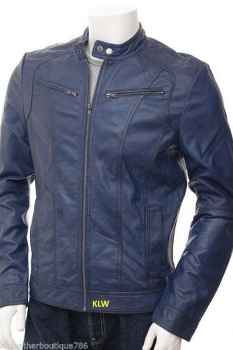 Men Navy Blue Leather Jackets Soft Lambskin Biker Style For Stylish