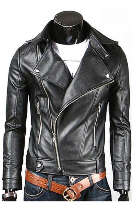 Men's Slim Fit Fascinating Black Motorbike Biker Fashion Leather Jacket