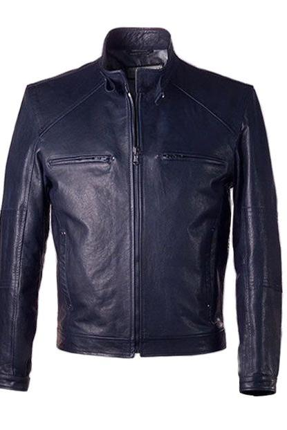 MEN,S VINTAGE STYLE LEATHER JACKET IN DARK NAVY BLUE JACKET