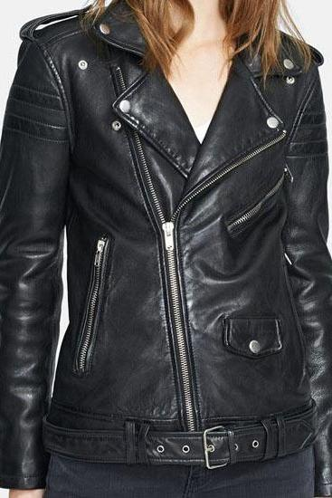 Women black leather Jacket front zipper, women Stylish Black biker Leather Jacket