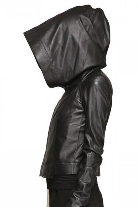 Women's Hooded Original Leather Jacket Womens Fashion Biker Jacket