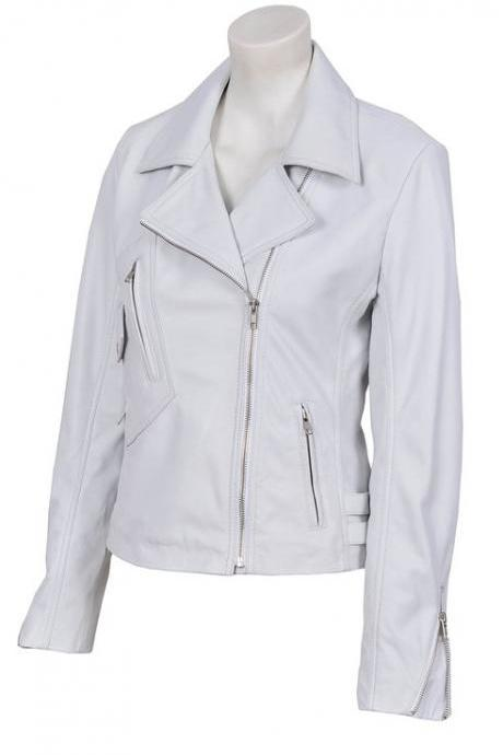 Women BRANDO White Biker Style Soft Sheep Fashion Leather Jacket