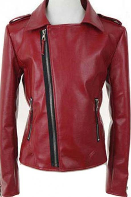 Fashion Leather Jacket For Womens Red stylish jacket