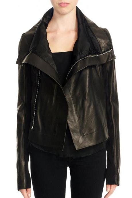 New Women's Wide Collar Black Original Leather Biker Jackets