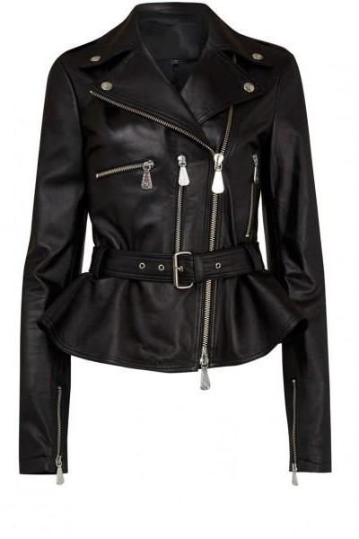 New WOMEN Black Belted Leather Fashion Jacket, Women fashion style jacket