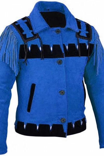 New WOMEN Blue Western Leather Indian Western Cowboy Carnival Suede Jacket