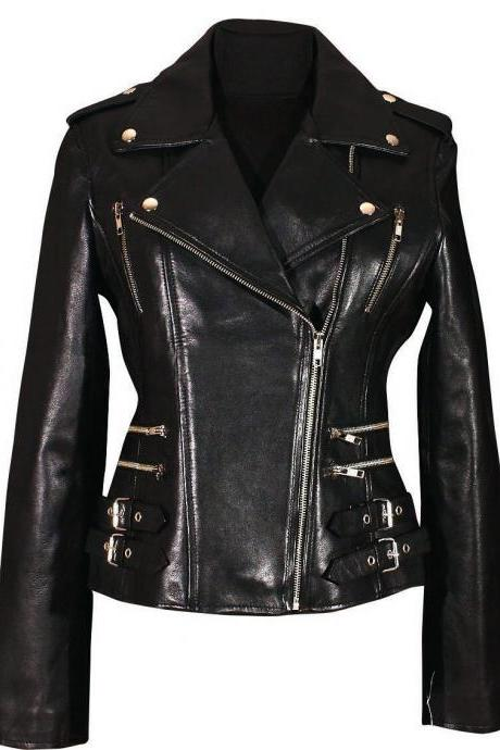 New women handmade lambskin leather black motorcycle slim fit jacket