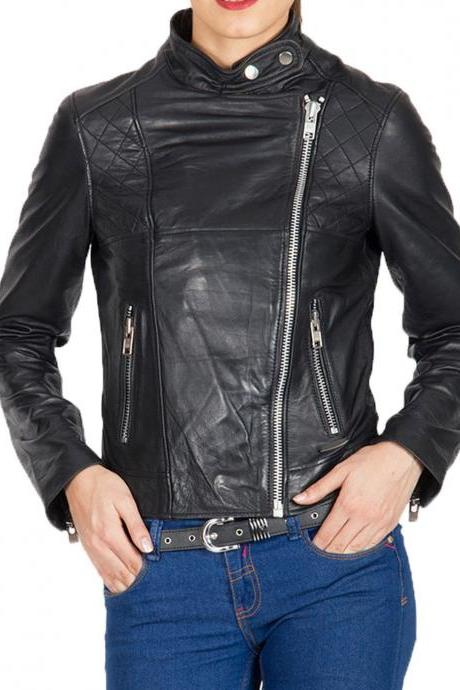 New Women's Fashion Motorcycle Original Leather Slim fit Jacket Black