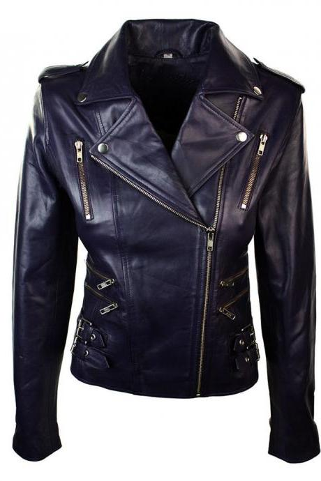 New Women Leather Biker Slim Fit Retro Jacket,Fashion Leather Jacket For Women