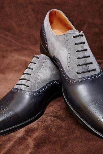Handmade dress leather brogue two tone shoes Men gray black dress shoes