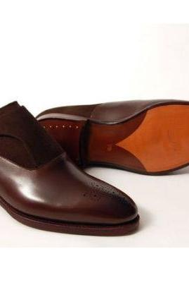 Handmade brown formal shoes Men brown suede and leather dress monk shoes