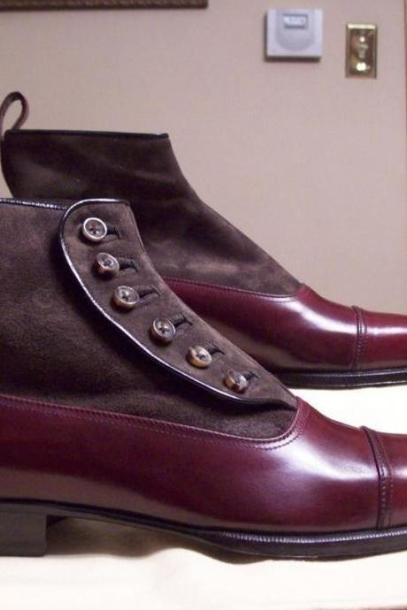 New Handmade Men's Maroon Leather Suede Top Button ankle Boot, Men Leather Boot