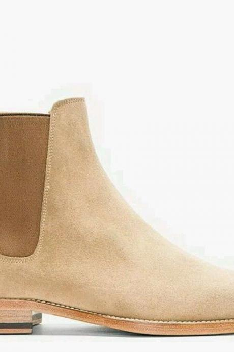 Handmade Custom Men's Beige Chelsea Suede Boots Leather Sole Dress Formal