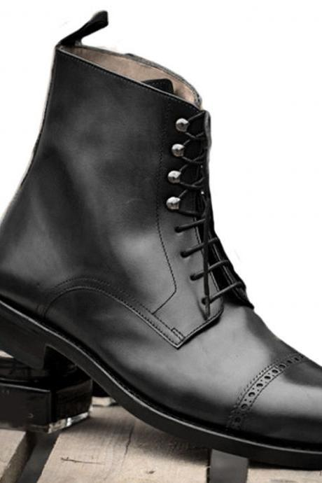 New Handmade Black Ankle High Cap Toe Boots, Lace Up Formal Boots Men