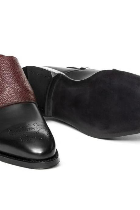 Bespoke Black Maroon Monk Leather Shoes Two Tone Formal Tuxedo Men
