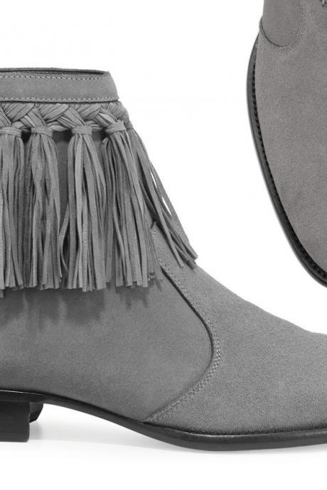 New Handmade Gray Fringe Dress Boots,Leather Gray Ankle Boots Formal Boots Men