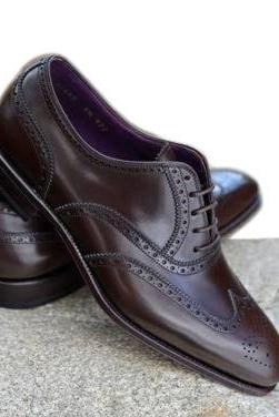 New Dark Brown New Handmade Shoes Men, Brown Lace up Brogue Shoes Wong Toe