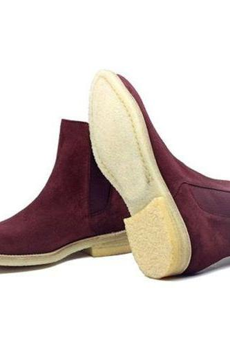 Chelsea Crape Sole Handmade Men's Burgundy Boot Men Suede Chelsea